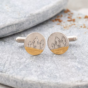 Personalised You, Me And Dad On The Beach Cufflinks - cufflinks