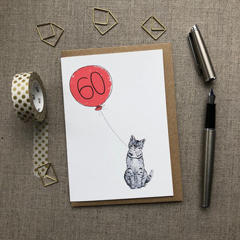 Personalised 60th Birthday Card Cat Design