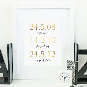 Memorable Dates Milestones Gold Foil Print
