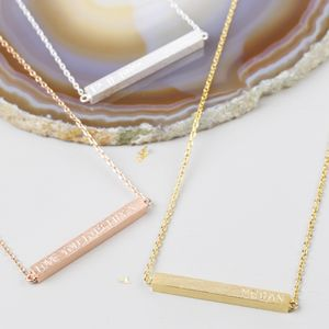 Personalised Horizontal Bar Necklace - stocking fillers for her