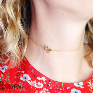 Butterfly Chocker Necklace Gold Vermeil/Silver