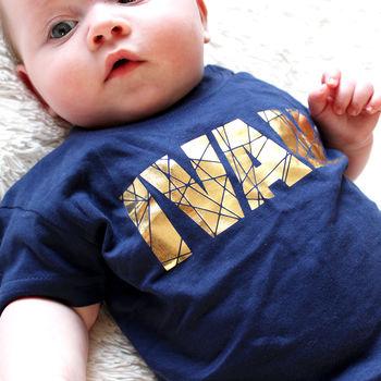 Personalised Geometric Gold T Shirt Or Babygrow