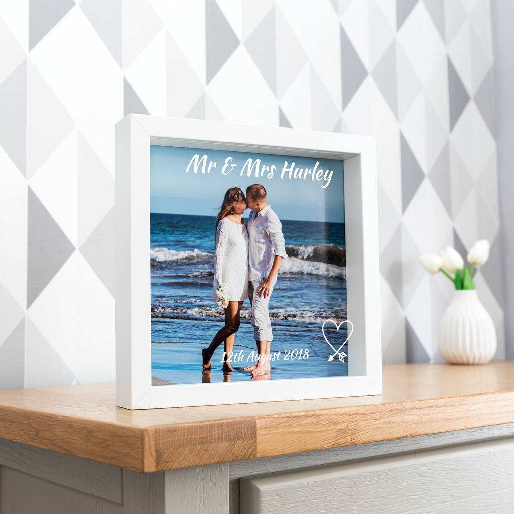 Personalised Wedding Day Box Frame With Photo