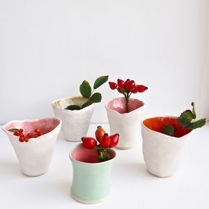 Handmade Small Ceramic Flower Vases Many Colours - living room