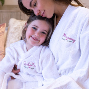 Personalised Embroidered Matching Towelling Bath Robes - lingerie & nightwear