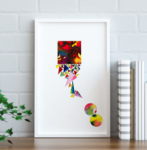 'Collage Three' Abstract Ink Fine Art Giclée Print