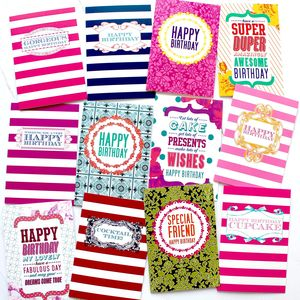 Pack Of 12 Birthday Cards - birthday cards