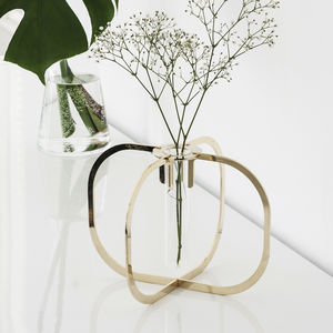 Single Stem Gold Or Copper Test Tube Vase - decorative accessories