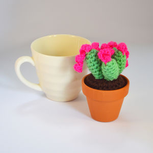 Crocheted Amigurumi Cactus Small Green And Pink