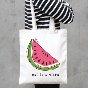 Personalised 'One In A Melon' Tote Bag - shopper bags
