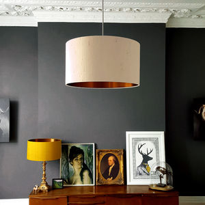 Brushed Copper Or Gold Lampshade In Pebble Indian Silk - dining room