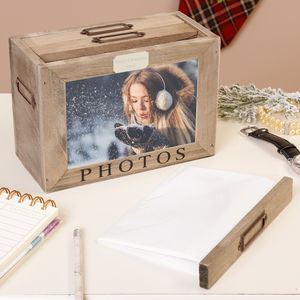 Personalised Wooden Hearts Photo Box - boxes, trunks & crates