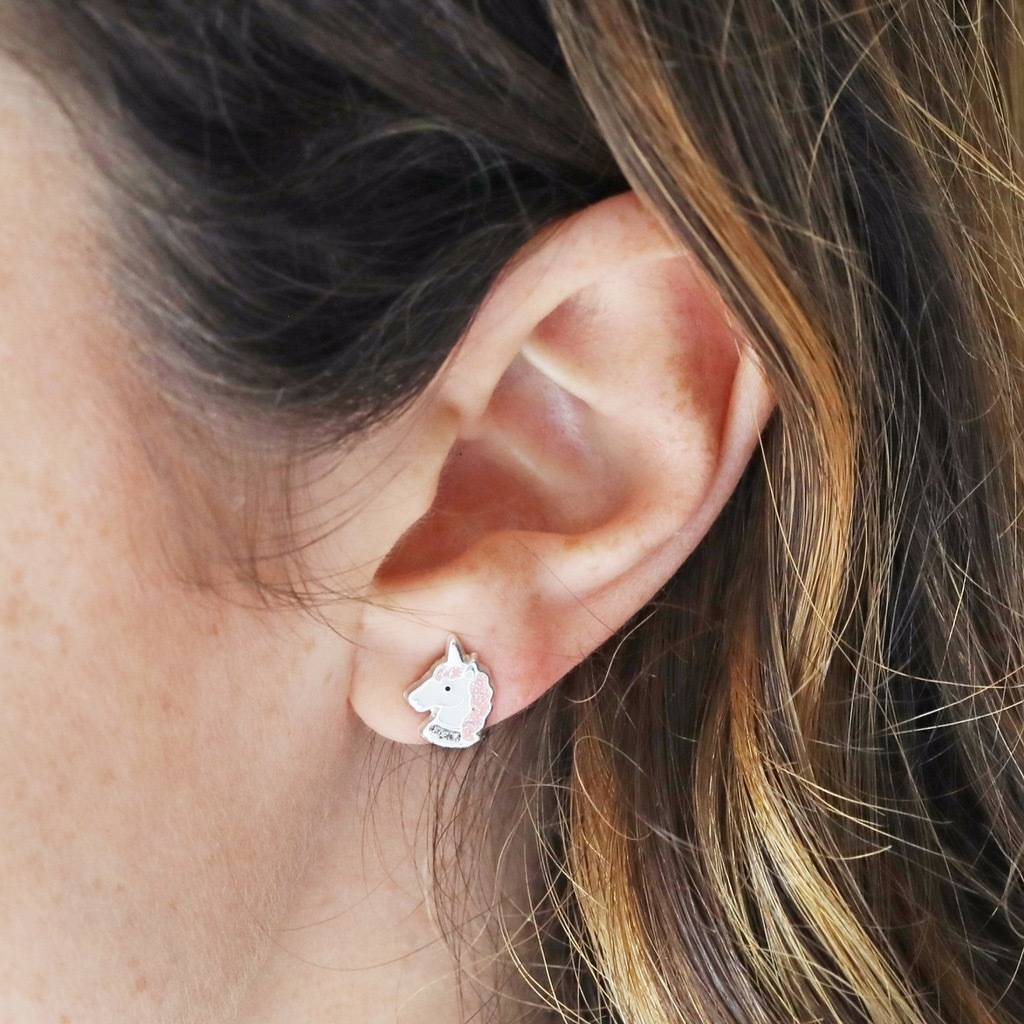 Sterling Silver Enamel Unicorn Head Stud Earrings