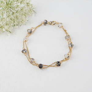 Rutilated Quartz Two Strand Bracelet In Gold Or Silver