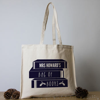 Personalised Christmas Teacher Tote Bag - Pile of Books (Cream)