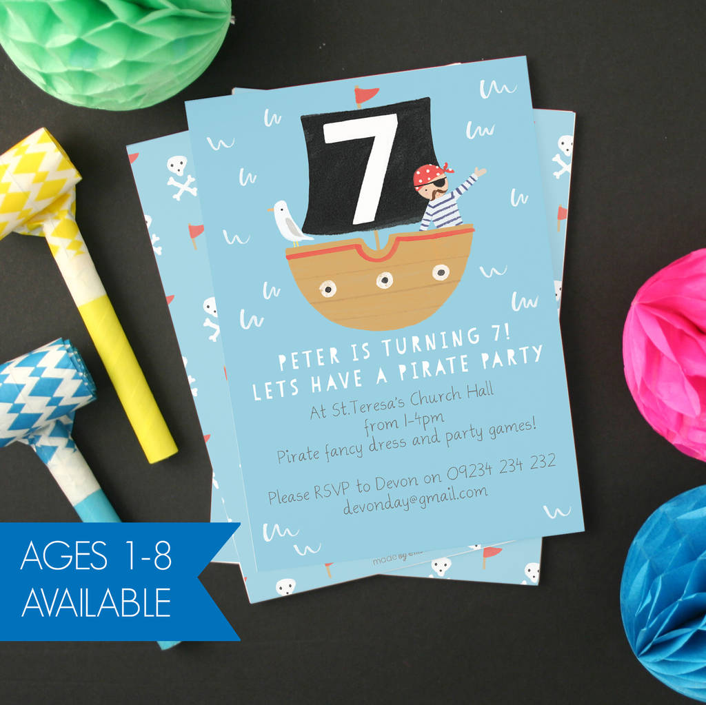 Personalised Pirate Childrens Birthday Invitations