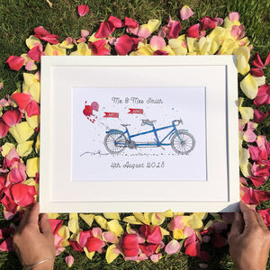 Personalised Wedding 'On Your Bike' Print