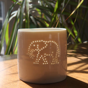 Porcelain Elephant Tea Light - votives & tea light holders