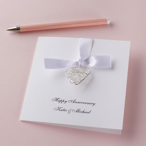 Personalised Anniversary Wire Heart Card - necklaces & pendants
