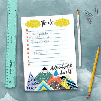 Adventure Awaits Notepad To Do List And Pencil Set