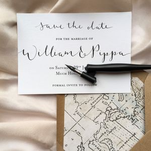 Monochrome Modern Calligraphy Save The Date