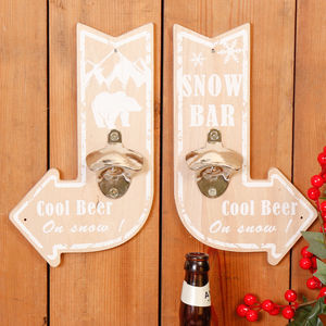 Alpine Lodge Style Wall Mounted Bottle Opener Signs