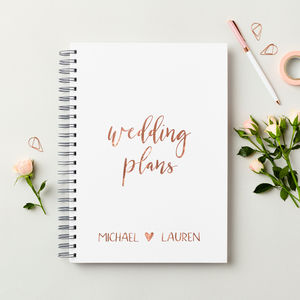 Personalised Rose Gold Wedding Plans Book - personalised