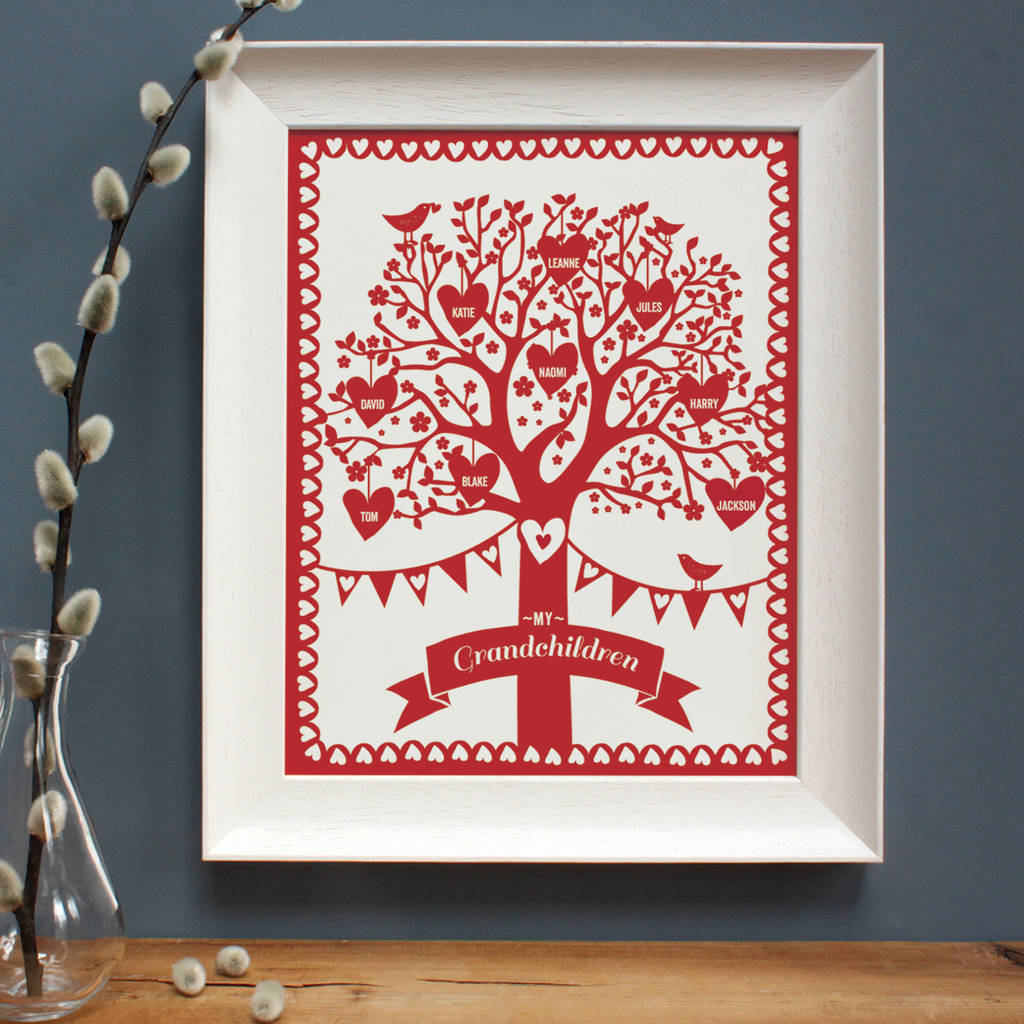 personalised framed family tree by birdyhome | notonthehighstreet.com