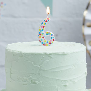 Polka Dot Candle Number Six Birthday Cake Candle - decoration