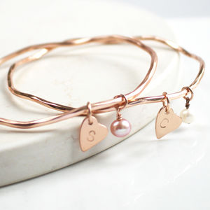 Personalised Pearl And Heart Charm Bangle