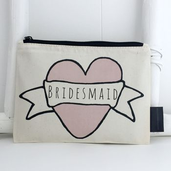 'Bridesmaid' Pink Heart Make Up Bag