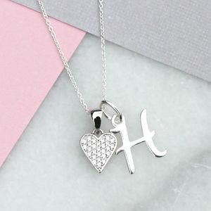 Personalised Pave Heart And Initial Necklace