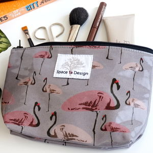 Flamingo Party Grey Make Up Bag - make-up & wash bags