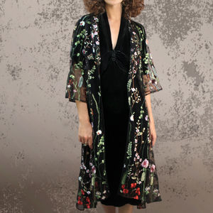 Bonnie Jacket In Black Meadow Flower Embroidered Lace - women's fashion
