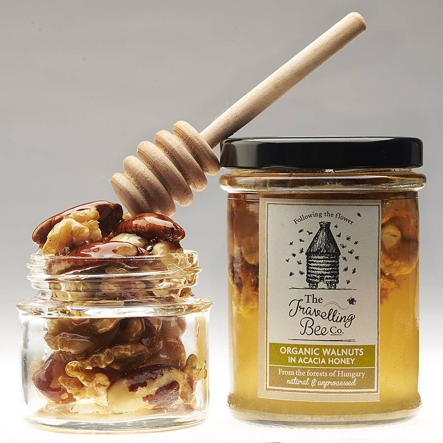Organic Walnuts In Raw Acacia Honey, Two Jars