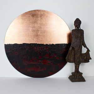 Circular Abstract Copper Reflections - mixed media & collage