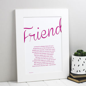 Friend Personalised Print With Friendship Poem - gifts for her