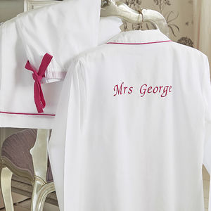 Personalised Women's White And Pink Cotton Pyjama's - be my bridesmaid