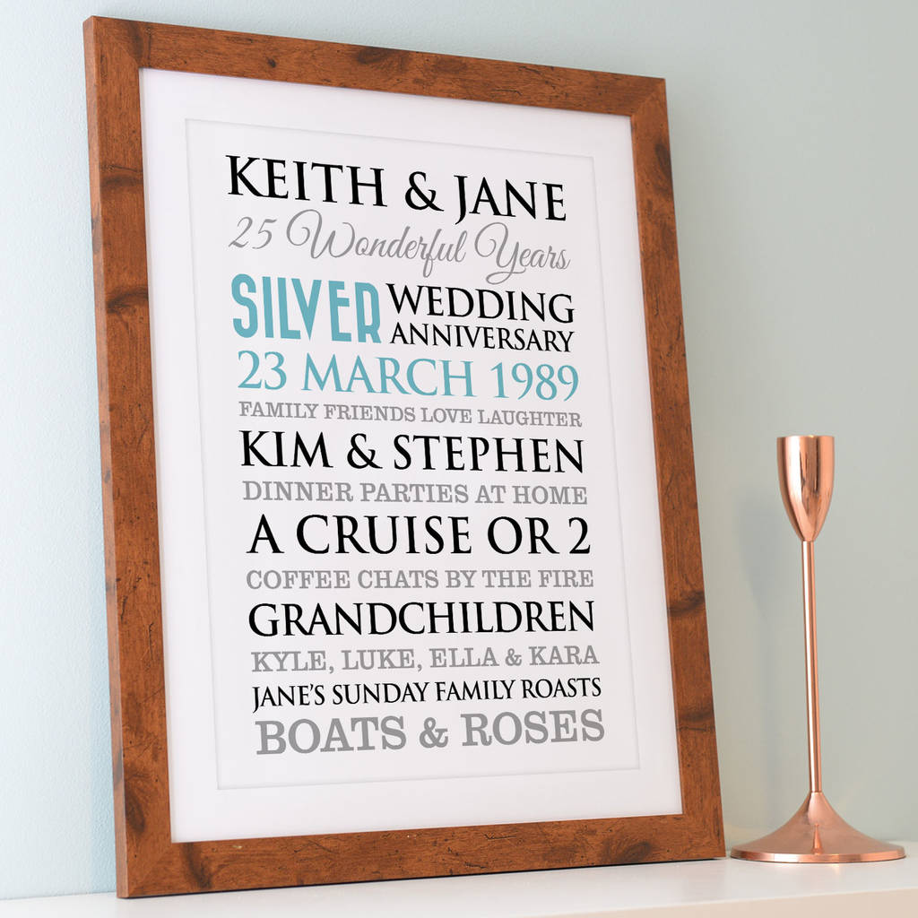 42 Wedding Anniversary Gift: Personalised Silver Wedding Anniversary Art By A Type Of