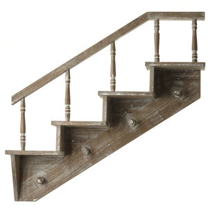 Wooden Staircase Shelf With Hooks