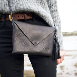 Handcrafted Black Leather Shoulder Bag - gifts for her