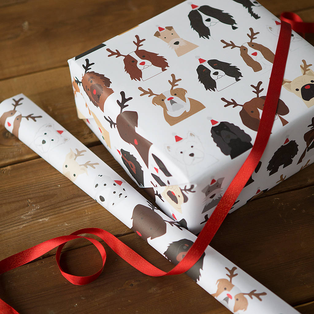 Christmas Hats For Dogs.Christmas Dogs Antler And Santa Hats Wrapping Paper