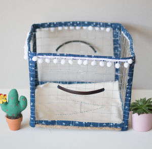 Denim Handmade Personalised Wire Metal Storage Basket