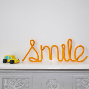 'Smile' Knitted Wire Word Sign - children's room