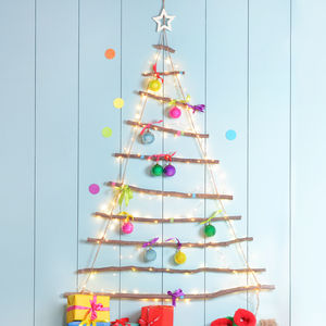 Wooden Hanging Christmas Tree With Star - alternative trees