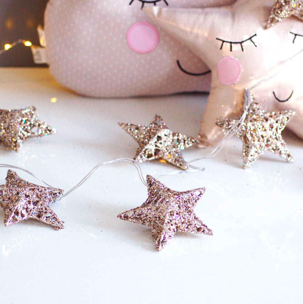 silver led star fairy lights string by made with love designs ltd ...