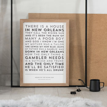 Black Risograph Lyrics Print on Bright White Colorplan