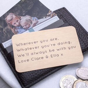 Personalised Message Wallet Card Keepsake