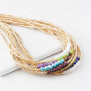 Gold Birthstone Necklace With Semi Precious Stones
