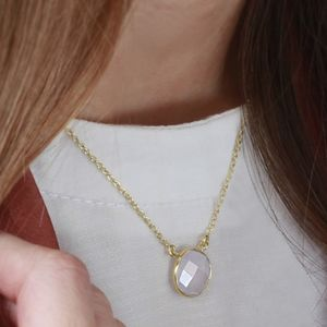18ct Gold Powder Blue Chalcedony Gemstone Necklace